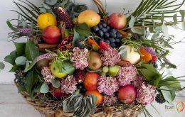 آموزش گل آرایی سبد میوه با گل طبیعی